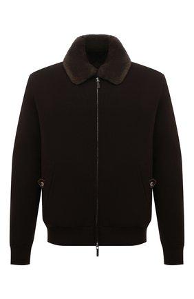 Мужской кашемировый бомбер с меховой подкладкой SVEVO коричневого цвета, арт. 0142SA21/MP01/2 | Фото 1 (Материал внешний: Шерсть, Кашемир; Рукава: Длинные; Длина (верхняя одежда): Короткие; Кросс-КТ: Куртка; Мужское Кросс-КТ: шерсть и кашемир, утепленные куртки; Принт: Без принта; Стили: Кэжуэл)