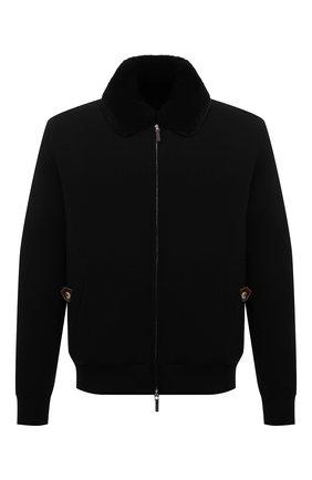 Мужской кашемировый бомбер с меховой подкладкой SVEVO черного цвета, арт. 0142SA21/MP01/2 | Фото 1 (Материал внешний: Кашемир, Шерсть; Длина (верхняя одежда): Короткие; Рукава: Длинные; Кросс-КТ: Куртка; Мужское Кросс-КТ: шерсть и кашемир, утепленные куртки; Принт: Без принта; Стили: Кэжуэл)