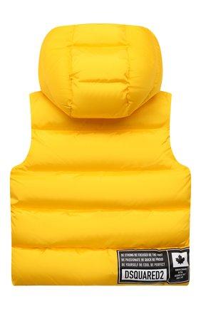 Детский пуховый жилет DSQUARED2 желтого цвета, арт. DQ0390-D00BN   Фото 2 (Рукава: Короткие; Материал подклада: Синтетический материал; Материал внешний: Синтетический материал; Мальчики Кросс-КТ: Пуховик-верхняя одежда; Кросс-КТ: Сезон: зима; Ростовка одежда: 10 - 11 лет   140 - 146см, 12 лет   152 см, 13 - 15 лет   158 см, 4 года   104 см, 6 лет   116 см, 8 лет   128 см)