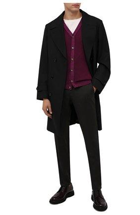 Мужские шерстяные брюки BERWICH темно-коричневого цвета, арт. SPIAGGIA/MZ1851X | Фото 2 (Материал подклада: Купро; Материал внешний: Шерсть; Случай: Повседневный; Стили: Кэжуэл; Длина (брюки, джинсы): Стандартные)