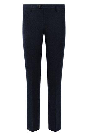Мужские шерстяные брюки BERWICH темно-синего цвета, арт. ZIP/1 ALC/AN1030 | Фото 1 (Материал подклада: Купро; Материал внешний: Шерсть; Случай: Формальный; Стили: Классический; Длина (брюки, джинсы): Стандартные)