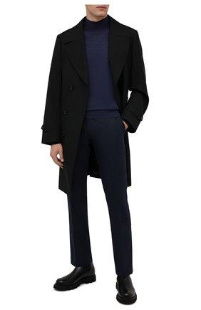 Мужские шерстяные брюки BERWICH темно-синего цвета, арт. ZIP/1 ALC/AN1030 | Фото 2 (Материал подклада: Купро; Материал внешний: Шерсть; Случай: Формальный; Стили: Классический; Длина (брюки, джинсы): Стандартные)