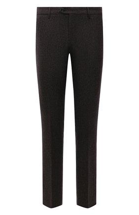 Мужские шерстяные брюки BERWICH темно-коричневого цвета, арт. ZIP/1 ALC/AN1030 | Фото 1 (Материал подклада: Купро; Материал внешний: Шерсть; Случай: Формальный; Стили: Классический; Длина (брюки, джинсы): Стандартные)
