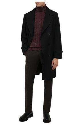 Мужские шерстяные брюки BERWICH темно-коричневого цвета, арт. ZIP/1 ALC/AN1030 | Фото 2 (Материал подклада: Купро; Материал внешний: Шерсть; Случай: Формальный; Стили: Классический; Длина (брюки, джинсы): Стандартные)
