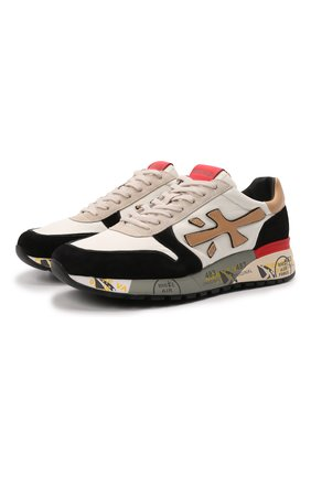 Мужские комбинированные кроссовки mick PREMIATA кремвого цвета, арт. MICK/VAR5337 | Фото 1 (Подошва: Массивная; Материал внутренний: Натуральная кожа; Материал внешний: Текстиль; Стили: Гранж)