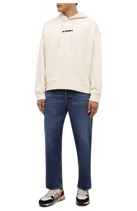 Мужские комбинированные кроссовки mick PREMIATA кремвого цвета, арт. MICK/VAR5337 | Фото 2 (Подошва: Массивная; Материал внутренний: Натуральная кожа; Материал внешний: Текстиль; Стили: Гранж)
