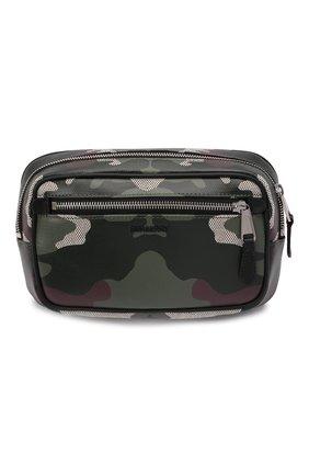 Мужская поясная сумка bum bag BURBERRY темно-зеленого цвета, арт. 8042040 | Фото 1 (Материал: Текстиль; Ремень/цепочка: На ремешке)
