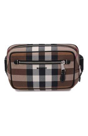 Мужская поясная сумка BURBERRY коричневого цвета, арт. 8042038 | Фото 1 (Материал: Текстиль)