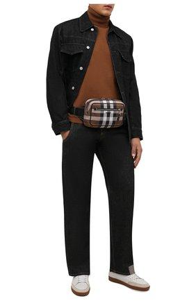Мужская поясная сумка BURBERRY коричневого цвета, арт. 8042038 | Фото 2 (Материал: Текстиль)