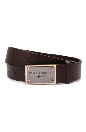 Мужской кожаный ремень DOLCE & GABBANA коричневого цвета, арт. BC4639/AX535 | Фото 1 (Случай: Повседневный)