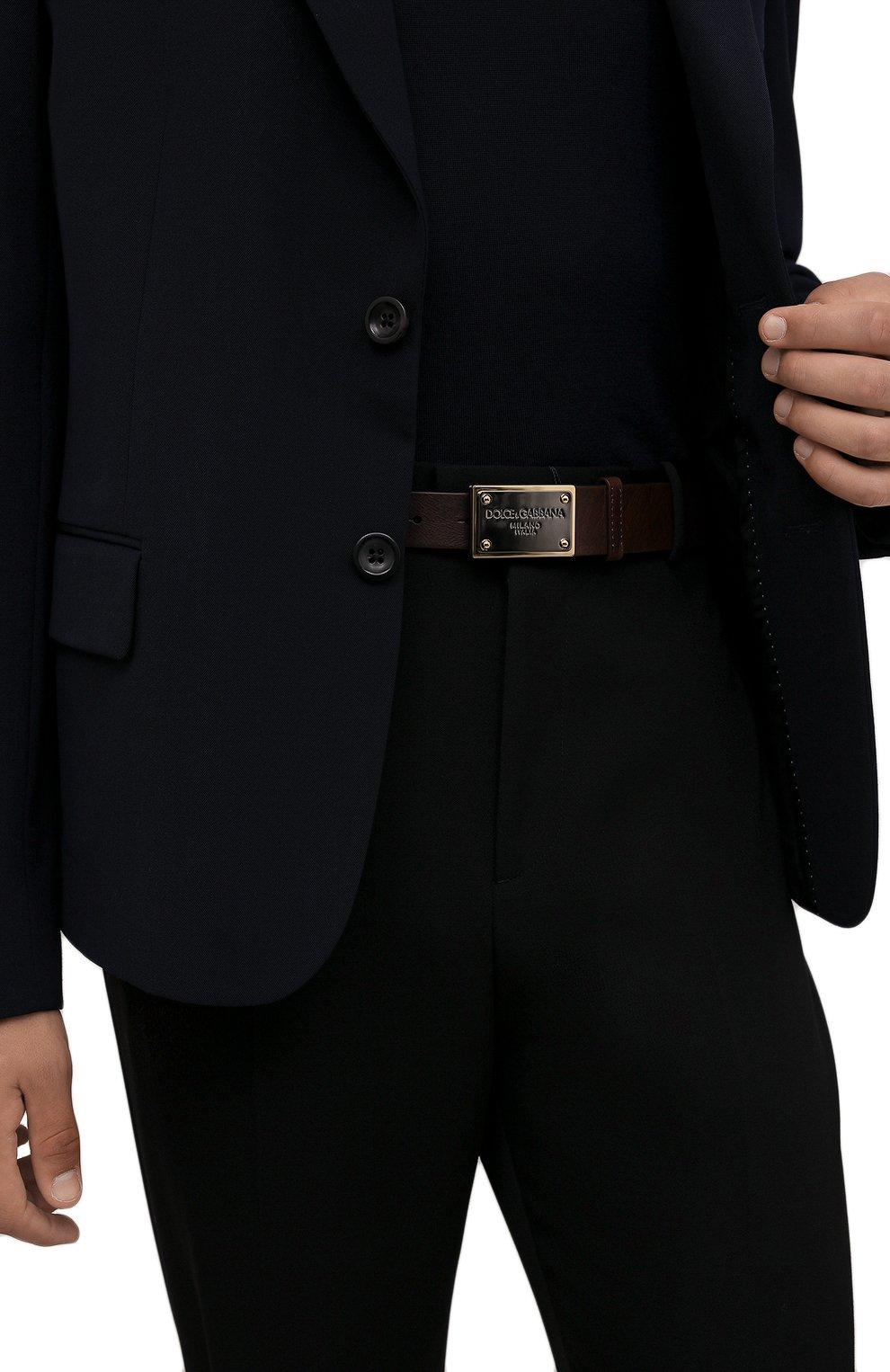 Мужской кожаный ремень DOLCE & GABBANA коричневого цвета, арт. BC4639/AX535   Фото 2 (Случай: Повседневный)