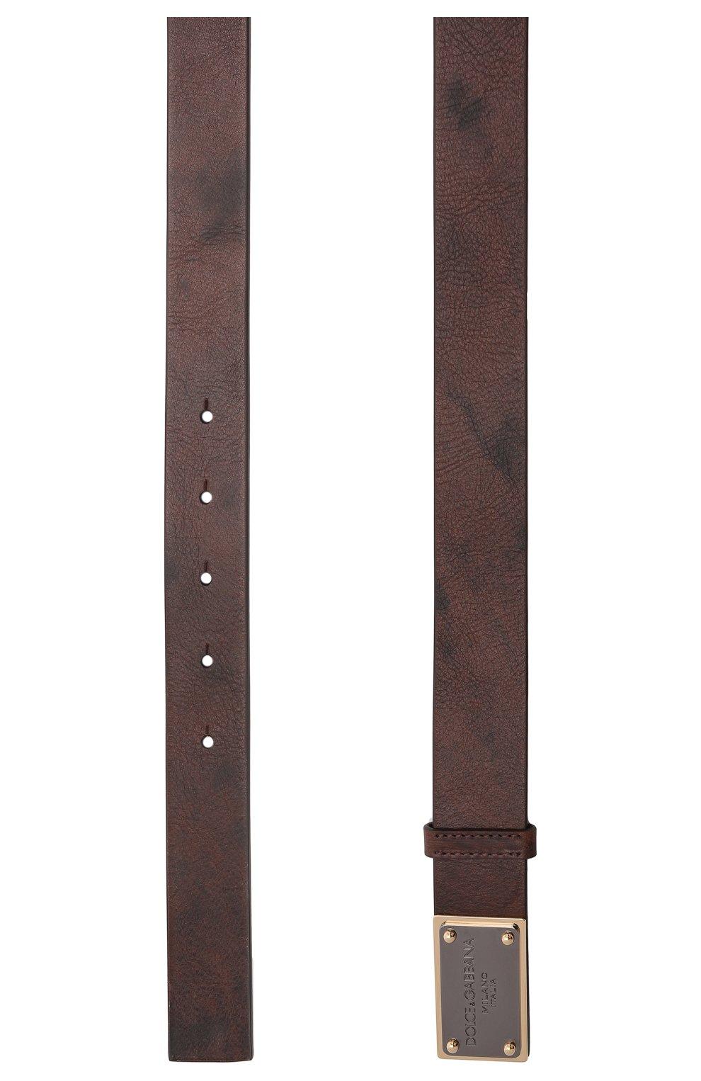 Мужской кожаный ремень DOLCE & GABBANA коричневого цвета, арт. BC4639/AX535   Фото 3 (Случай: Повседневный)