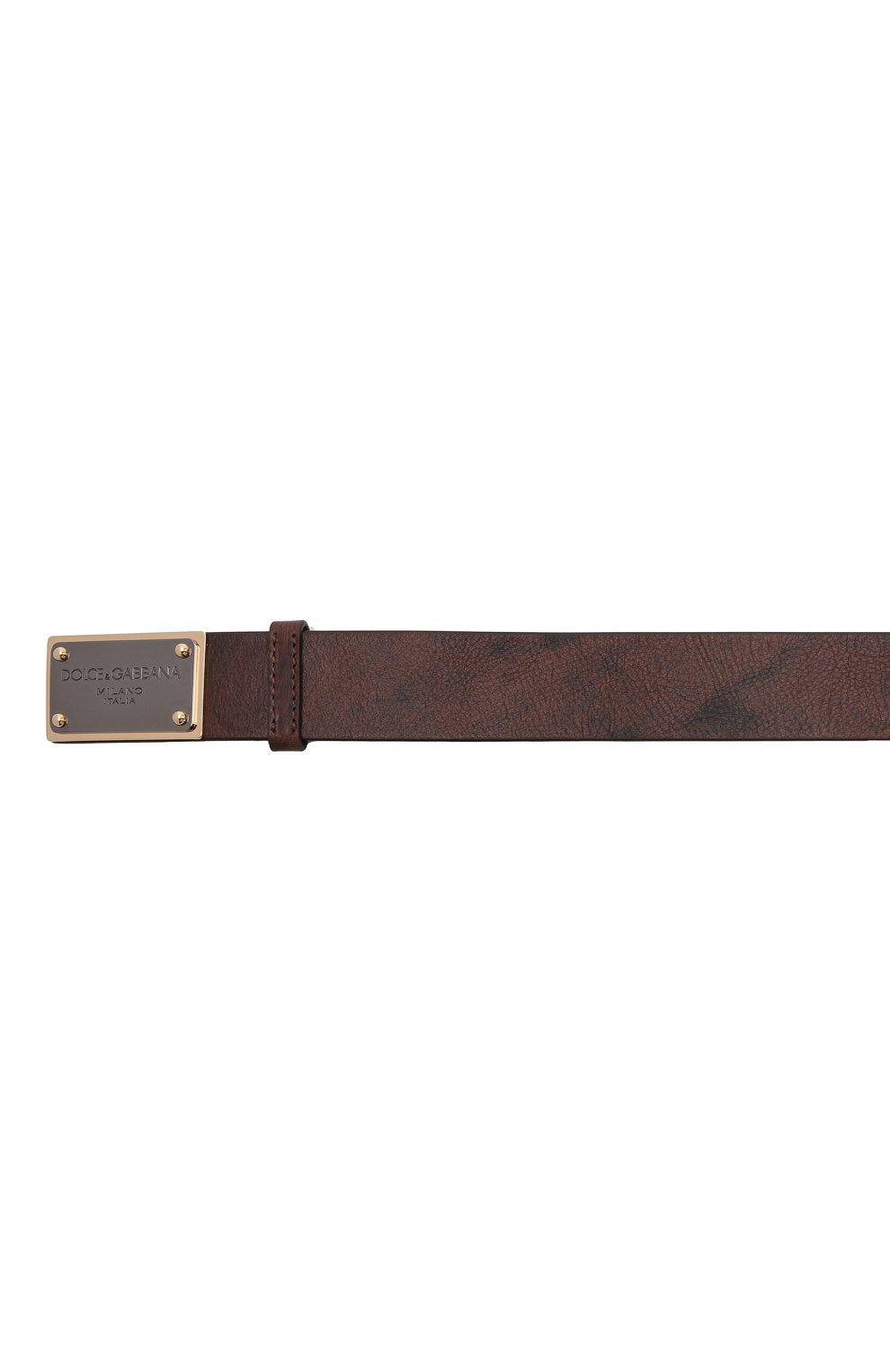Мужской кожаный ремень DOLCE & GABBANA коричневого цвета, арт. BC4639/AX535   Фото 4 (Случай: Повседневный)