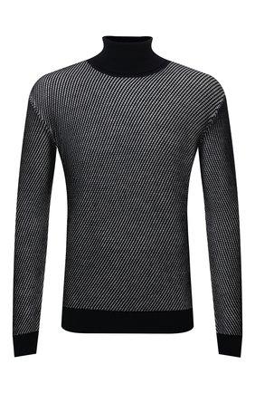 Мужской шерстяной свитер GIORGIO ARMANI темно-синего цвета, арт. 6KSMC3/SMC3Z | Фото 1 (Материал внешний: Шерсть; Длина (для топов): Стандартные; Рукава: Длинные; Мужское Кросс-КТ: Свитер-одежда; Принт: Без принта; Стили: Кэжуэл)