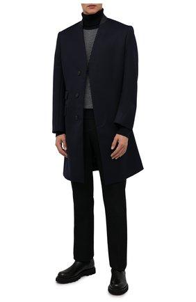 Мужской шерстяной свитер GIORGIO ARMANI темно-синего цвета, арт. 6KSMC3/SMC3Z | Фото 2 (Материал внешний: Шерсть; Длина (для топов): Стандартные; Рукава: Длинные; Мужское Кросс-КТ: Свитер-одежда; Принт: Без принта; Стили: Кэжуэл)