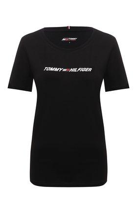 Женская хлопковая футболка TOMMY HILFIGER черного цвета, арт. S10S101016 | Фото 1 (Материал внешний: Хлопок; Рукава: Короткие; Длина (для топов): Стандартные; Стили: Спорт-шик; Принт: С принтом; Женское Кросс-КТ: Футболка-одежда, Футболка-спорт)