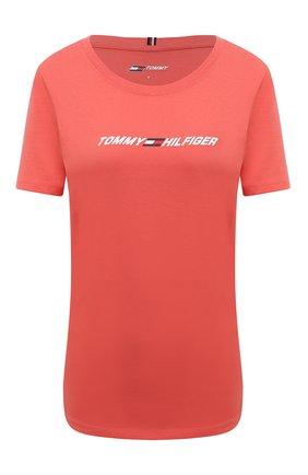 Женская хлопковая футболка TOMMY HILFIGER кораллового цвета, арт. S10S101016 | Фото 1 (Рукава: Короткие; Длина (для топов): Стандартные; Материал внешний: Хлопок; Стили: Спорт-шик; Принт: С принтом; Женское Кросс-КТ: Футболка-одежда, Футболка-спорт)