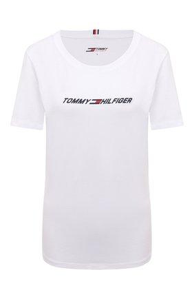 Женская хлопковая футболка TOMMY HILFIGER белого цвета, арт. S10S101016 | Фото 1 (Длина (для топов): Стандартные; Материал внешний: Хлопок; Рукава: Короткие; Стили: Спорт-шик; Принт: С принтом; Женское Кросс-КТ: Футболка-одежда, Футболка-спорт)