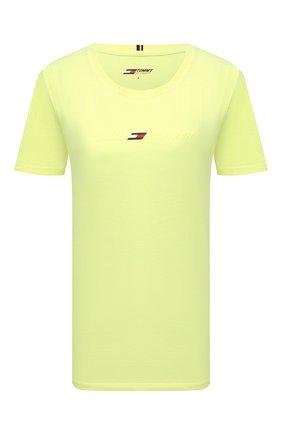 Женская хлопковая футболка TOMMY HILFIGER зеленого цвета, арт. S10S101181 | Фото 1 (Рукава: Короткие; Длина (для топов): Стандартные; Материал внешний: Хлопок; Стили: Спорт-шик; Принт: С принтом; Женское Кросс-КТ: Футболка-одежда, Футболка-спорт)