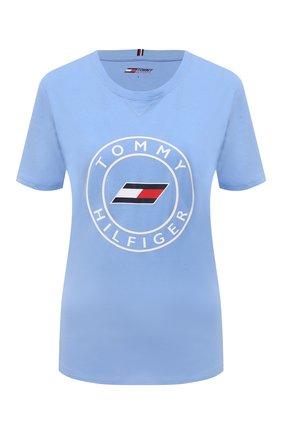 Женская хлопковая футболка TOMMY HILFIGER голубого цвета, арт. S10S101046 | Фото 1 (Материал внешний: Хлопок; Рукава: Короткие; Длина (для топов): Стандартные; Стили: Спорт-шик; Принт: С принтом; Женское Кросс-КТ: Футболка-одежда, Футболка-спорт)