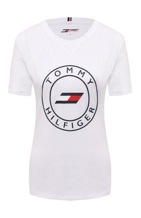 Женская хлопковая футболка TOMMY HILFIGER белого цвета, арт. S10S101046 | Фото 1 (Рукава: Короткие; Материал внешний: Хлопок; Длина (для топов): Стандартные; Стили: Спорт-шик; Принт: С принтом; Женское Кросс-КТ: Футболка-одежда, Футболка-спорт)