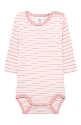 Детское хлопковое боди SANETTA светло-розового цвета, арт. 323040 | Фото 1 (Рукава: Длинные; Материал внешний: Хлопок)