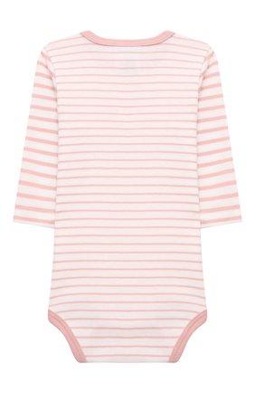 Детское хлопковое боди SANETTA светло-розового цвета, арт. 323040 | Фото 2 (Рукава: Длинные; Материал внешний: Хлопок)
