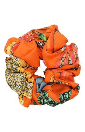 Женская резинка для волос VERSACE оранжевого цвета, арт. IELA002/1F01193 | Фото 1 (Материал: Текстиль, Шелк)