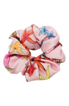 Женская резинка для волос VERSACE светло-розового цвета, арт. IELA002/1F01193 | Фото 1 (Материал: Шелк, Текстиль)