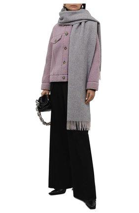Женский кашемировый шарф LORO PIANA серого цвета, арт. FAL7232 | Фото 2 (Материал: Кашемир, Шерсть)