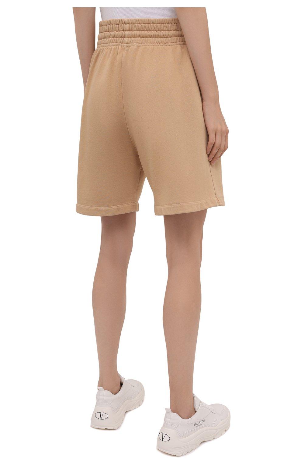 Женские хлопковые шорты AGOLDE бежевого цвета, арт. A9014B | Фото 4 (Длина Ж (юбки, платья, шорты): Мини; Кросс-КТ: Трикотаж; Материал внешний: Хлопок; Стили: Спорт-шик)