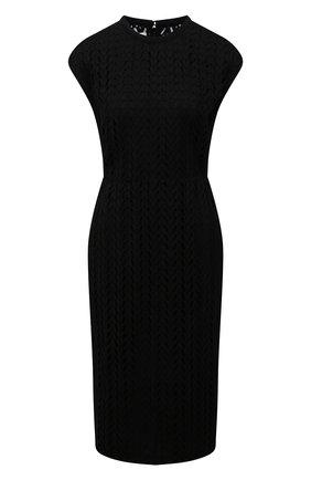 Женское хлопковое платье VALENTINO черного цвета, арт. WB3VAW266JP   Фото 1 (Материал подклада: Вискоза; Длина Ж (юбки, платья, шорты): До колена; Материал внешний: Хлопок; Стили: Гламурный; Случай: Повседневный; Женское Кросс-КТ: Платье-одежда)