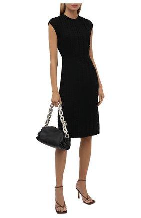 Женское хлопковое платье VALENTINO черного цвета, арт. WB3VAW266JP   Фото 2 (Материал подклада: Вискоза; Длина Ж (юбки, платья, шорты): До колена; Материал внешний: Хлопок; Стили: Гламурный; Случай: Повседневный; Женское Кросс-КТ: Платье-одежда)