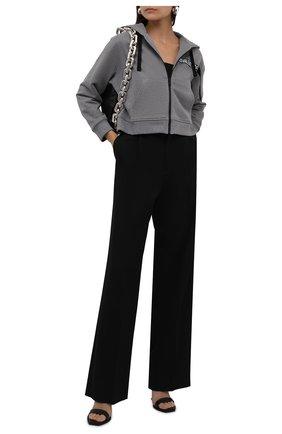 Женский хлопковая толстовка REDVALENTINO серого цвета, арт. WR0MF08E/68H | Фото 2 (Длина (для топов): Укороченные; Рукава: Длинные; Материал внешний: Хлопок; Стили: Спорт-шик; Женское Кросс-КТ: Толстовка-одежда, Толстовка-спорт)