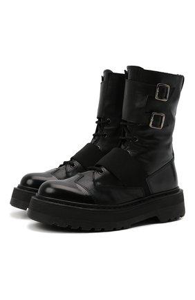 Женские комбинированные ботинки PREMIATA черного цвета, арт. M4970/VARIANTE 3   Фото 1 (Каблук высота: Низкий; Женское Кросс-КТ: Военные ботинки; Подошва: Платформа; Материал внутренний: Натуральная кожа)