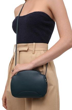 Женская сумка sesia LORO PIANA синего цвета, арт. FAL6767 | Фото 2 (Материал: Натуральная кожа; Сумки-технические: Сумки через плечо; Размер: small, mini; Ремень/цепочка: На ремешке)