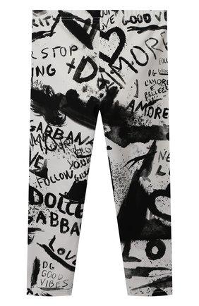 Детские хлопковые брюки DOLCE & GABBANA черно-белого цвета, арт. L2JP5B/FSGXX   Фото 2 (Материал внешний: Хлопок)