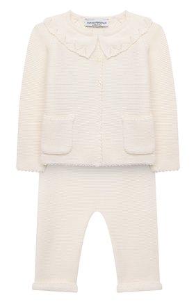 Детский комплект из кардигана и брюк EMPORIO ARMANI кремвого цвета, арт. 6KDV53/NM01Z | Фото 1 (Материал внешний: Шерсть; Рукава: Длинные)