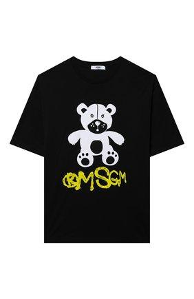 Детская хлопковая футболка MSGM KIDS черного цвета, арт. MS028725   Фото 1 (Рукава: Короткие; Материал внешний: Хлопок; Ростовка одежда: 10 - 11 лет   140 - 146см, 12 лет   152 см, 13 - 15 лет   158 см, 6 лет   116 см, 8 лет   128 см)
