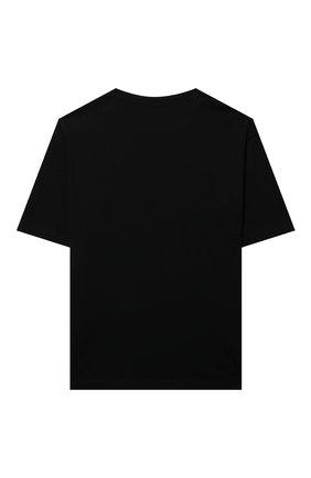 Детская хлопковая футболка MSGM KIDS черного цвета, арт. MS028725   Фото 2 (Рукава: Короткие; Материал внешний: Хлопок; Ростовка одежда: 10 - 11 лет   140 - 146см, 12 лет   152 см, 13 - 15 лет   158 см, 6 лет   116 см, 8 лет   128 см)
