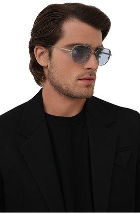 Мужские солнцезащитные очки DIOR голубого цвета, арт. NE0DI0R RU F0I0 | Фото 2 (Материал: Металл; Тип очков: С/з; Оптика Гендер: оптика-мужское; Очки форма: Авиаторы)