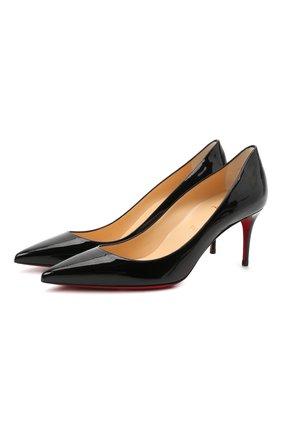 Женские кожаные туфли kate 70 CHRISTIAN LOUBOUTIN черного цвета, арт. 3191451/KATE 70 | Фото 1 (Каблук высота: Средний; Подошва: Плоская; Материал внутренний: Натуральная кожа; Каблук тип: Шпилька)