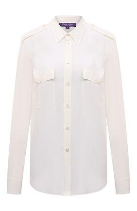 Женская шелковая рубашка RALPH LAUREN кремвого цвета, арт. 290845655 | Фото 1 (Материал внешний: Шелк; Рукава: Длинные; Длина (для топов): Удлиненные; Стили: Кэжуэл; Женское Кросс-КТ: Рубашка-одежда; Принт: Без принта)