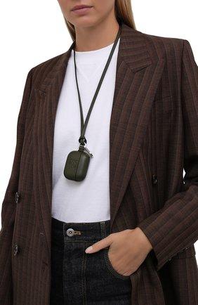 Кожаный чехол для airpods pro LOEWE хаки цвета, арт. C500036X01 | Фото 2 (Женское Кросс-КТ: Кожа AirPods)