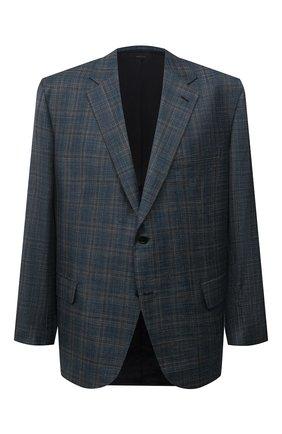 Мужской пиджак из шерсти и шелка BRIONI синего цвета, арт. RGH00X/01A0F/PARLAMENT0 | Фото 1 (Рукава: Длинные; Материал внешний: Шерсть; Материал подклада: Купро; Длина (для топов): Стандартные; Случай: Коктейльный; Пиджаки М: Прямой; Стили: Классический; Big sizes: Big Sizes)