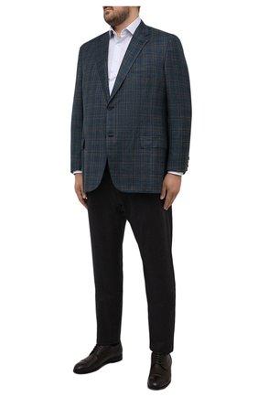 Мужской пиджак из шерсти и шелка BRIONI синего цвета, арт. RGH00X/01A0F/PARLAMENT0 | Фото 2 (Рукава: Длинные; Материал внешний: Шерсть; Материал подклада: Купро; Длина (для топов): Стандартные; Случай: Коктейльный; Пиджаки М: Прямой; Стили: Классический; Big sizes: Big Sizes)