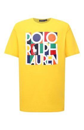 Мужская хлопковая футболка POLO RALPH LAUREN желтого цвета, арт. 711843380/PRL BS   Фото 1 (Материал внешний: Хлопок; Принт: С принтом; Рукава: Короткие; Длина (для топов): Удлиненные; Стили: Спорт-шик; Big sizes: Big Sizes)
