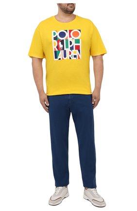 Мужская хлопковая футболка POLO RALPH LAUREN желтого цвета, арт. 711843380/PRL BS   Фото 2 (Материал внешний: Хлопок; Принт: С принтом; Рукава: Короткие; Длина (для топов): Удлиненные; Стили: Спорт-шик; Big sizes: Big Sizes)