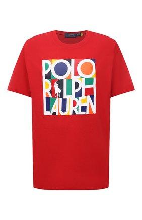 Мужская хлопковая футболка POLO RALPH LAUREN красного цвета, арт. 711843380/PRL BS | Фото 1 (Материал внешний: Хлопок; Принт: С принтом; Длина (для топов): Удлиненные; Рукава: Короткие; Стили: Спорт-шик; Big sizes: Big Sizes)