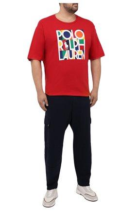 Мужская хлопковая футболка POLO RALPH LAUREN красного цвета, арт. 711843380/PRL BS | Фото 2 (Материал внешний: Хлопок; Принт: С принтом; Длина (для топов): Удлиненные; Рукава: Короткие; Стили: Спорт-шик; Big sizes: Big Sizes)